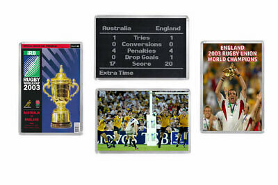 2003 RUGBY WORLD CUP FINAL PROGRAMME / ENGLAND WINNERS Fridge Magnets Set