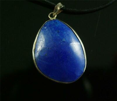 Antique Old Chinese Lapis Lazuli Stone Made Pendant Netsuke Sterling Silver Hook
