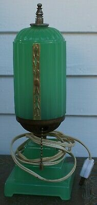 Antique JADEITE Green Depression Glass ART DECO SKYSCRAPER Table Lamp Vintage