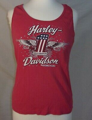 Women's Harley Davidson Red Tank Top Rhinestone Size Large L Eagle One Classic