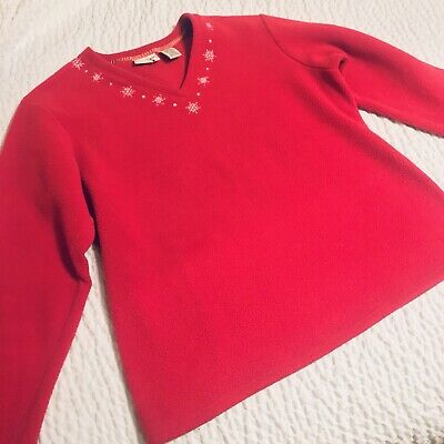 Vintage LL Bean Sweater Christmas Womens Medium Red Tagged Large Pull Over