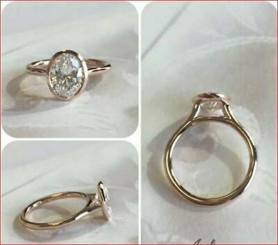 2Ct Oval Moissanite Bezel Set Engagement Ring Solid In 14k Yellow Gold Finish