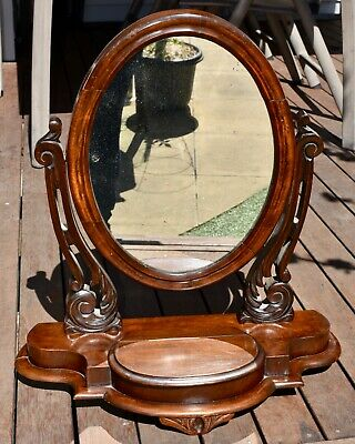 Antique Victorian Mahogany Toilet Mirror / Dresser - Carved, Large Compartment