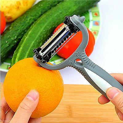 Wavy /& Serrated 3 in 1 Vegetable Fruits Peeler Rotary Revolving Blade Chipping