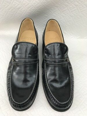 Mens Lotus Black Leather Shoes - Loafer Style with Leather Soles Size UK 8 - NEW