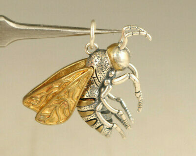 old 100% fine 925 Silver Hand Carved bee wing move Statue Pendant Netsuke gift