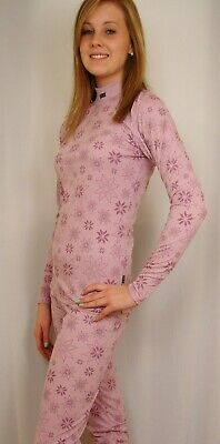 Girls Cute PINK Pattern THERMAL Base Layer Underwear Set  TOP & BOTTOMS THERMALS