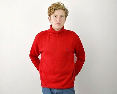 POLO RALPH LAUREN Mens L Red Turtle Neck Sweater Cotton Knit Jumper Pullover Top