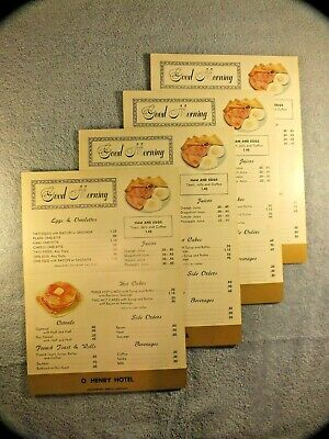 (4) 1960's Original UNUSED Vintage BREAKFAST Menu O. HENRY HOTEL Greensboro, NC