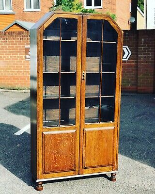 Art Deco Light Oak Display Cabinet Or Bookcase Very Good Quality Indeed.