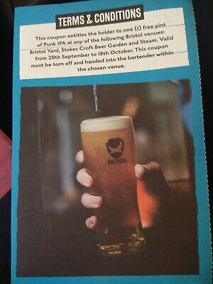 4 vouchers for pints of Brewdog Punk IPA craft beer at 3 pubs in Bristol