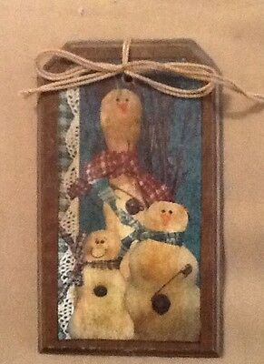 5 WOOD PriM Country Christmas Ornaments,HangTags,Winter Ornies HANDCRAFTED SETq