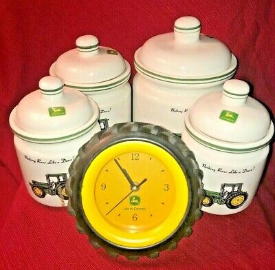 Vintage Lot of 5 Mixed John Deere Officially Licensed Products (Clock/Dishes) GC