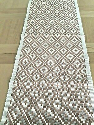 Swedish pink & white cotton ribbed table runner from Hemtex