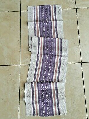 Vintage Swedish woven purple, pink and white stripped table runner