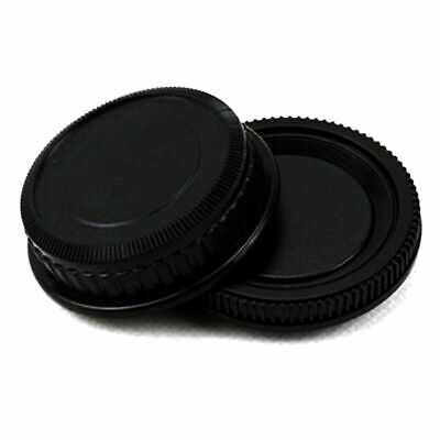 Rear Lens and Body cap or cover Protector For Pentax PK camera pla*` black P8B1