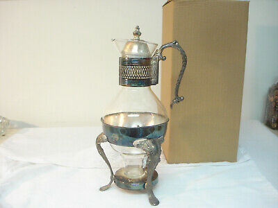 Vintage Mid Century Modern Hostess Glass & Silverplate Coffee Pot w Warmer Stand