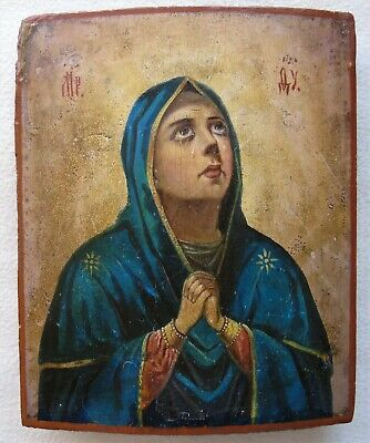 "Antique Russian icon of the Virgin ""Sorrowful"". 19 century. 26,5х22х2,5 cm."
