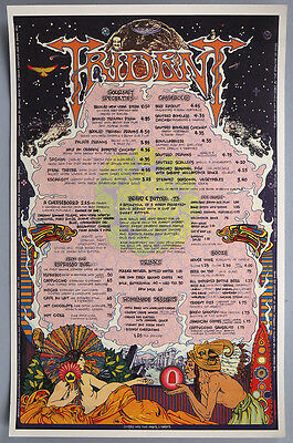 1972 Rock & Roll Menu Poster Psychedelic Groovy Graphics Hippie Trident Rest.