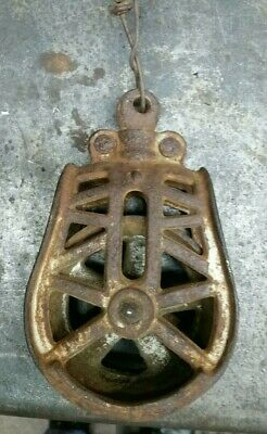 Vintage Cast Iron Barn Loft Hay Trolley Center Brop Pulley, H-254, Myers?