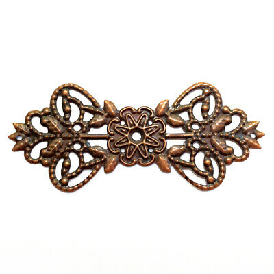 Antique Copper Plated Alloy 30x70mm Bowtie Flower Oval Filigree Beads Q20
