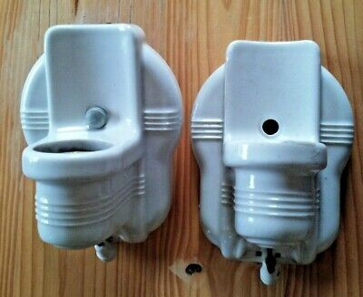 Pair of Vintage White Porcelain Scones With Outlet