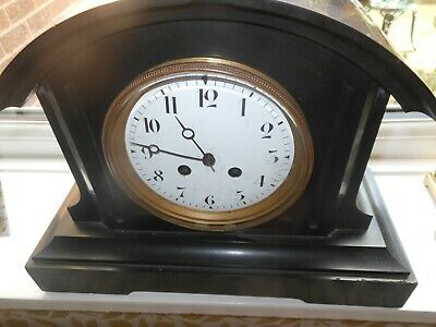 Victorian Antique Vintage Black Slate Clock With White Face