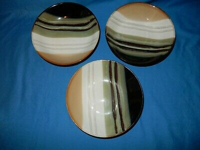 "Set of 3 Jazz Home Trends 7 5/8"" Soup Cereal Salad Bowls Brown Tan White Stripe"