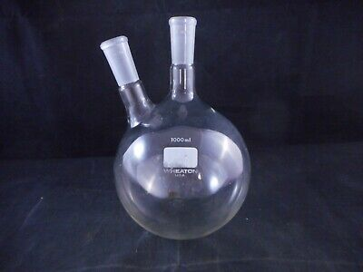 WHEATON Glass 1000mL 1L Round Bottom Flask 2-Neck ST 19/38 Angled 20° 1/PACK