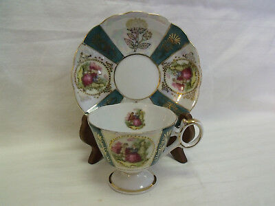Royal Sealy ~ Teacup & Saucer ~ Opalescent Background ~ Floral~Cameo's~ Japan