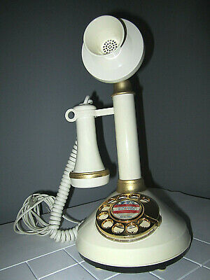 Vintage Rotary Retro Candlestick Replica Telephone White and Gold