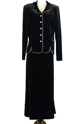 Vintage Leslie Fay Evenings Womens Jacket Maxi Skirt Set Velvet Jeweled Size 18