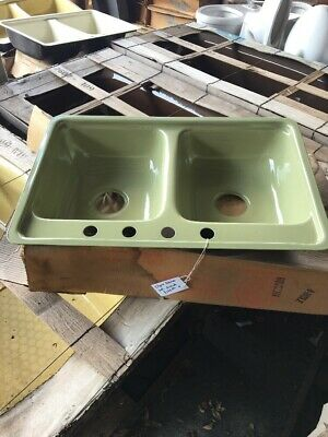 Vintage New Inventory Green Kilgore Porcelain Americast Double Sink