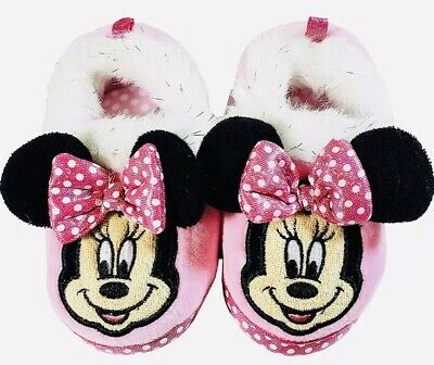New Toddler/'s Girls Disney Minnie Mouse Slippers House Shoes 99073 Pink 130B