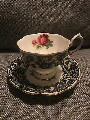 FREE SHIPPING Royal Albert Bone China Senorita Black Lace Rose Tea Cup & Saucer
