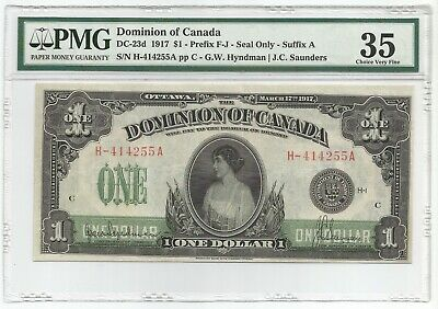 Canada Dollar 17.3.1917 DC-23d Banknote PMG 35 - Choice Very Fine