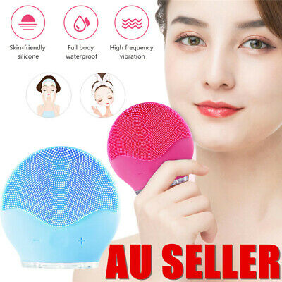 Silicone Electric Face Cleansing Brush Facial Skin Care Cleaning Massager Tool