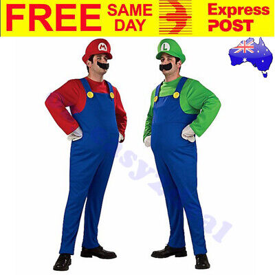 2 Pack Adult Luigi & Super Mario Brothers Costumes Fancy Party Dress Up Plumber
