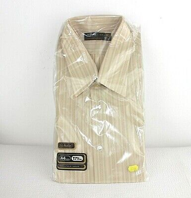 "St Michael nylon shirt Vintage 17.5"" collar Beige L brown NOS Long sleeve M&S OS"