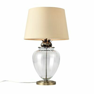 Antique Brass & Glass Pineapple Design 58cm Table Lamp Bedside Light Cream Shade
