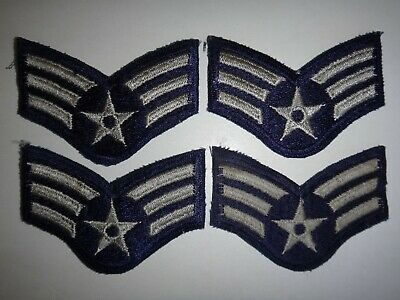 Two Pairs Of US Air Force Senior AIRMAN E-4 Small Chevrons Patches