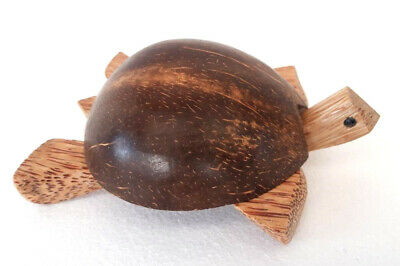 Unusual Hand Carved Turtle Ashtray Carved from Natural Coconut Wood