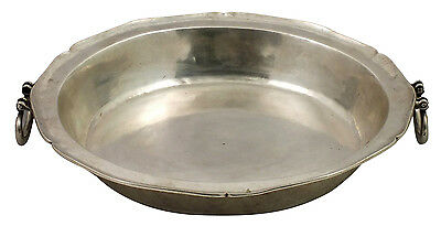 Large 18thC Spanish Colonial Silver Handled Deep Dish