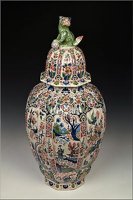 19th Century English Delft Pottery Polychrome Painted Covered Urn w/ Chinoiserie