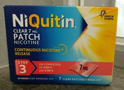 NIQUITIN CLEAR 7mg Patch - Step 3 X 7 Patches - Brand New