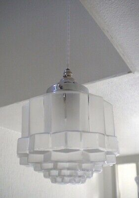 Art Deco Glass PENDANT LIGHT 'Skyscrapper' Design | Mid Century, Antique