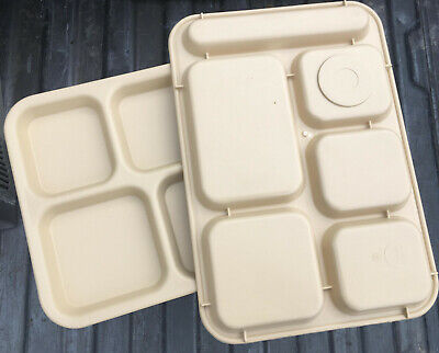 Tan Beige 6 Compartment Divided Food Tray cafeteria lunch cambro ps1014