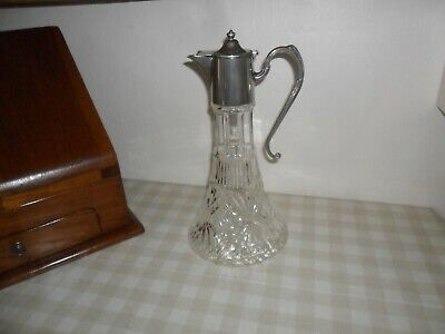 Vintage Silver Plate & Glass Claret Jug / Decanter