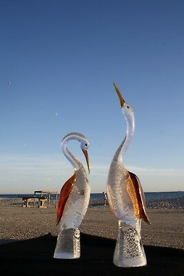 Murano Art Glass, Pair of Large Herons / Storks -- Stunning Colours.