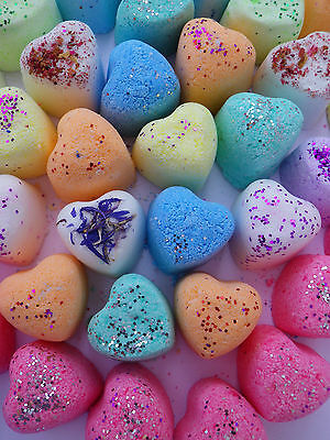 2000 mini Hearts Bath Bombs Green and Pink